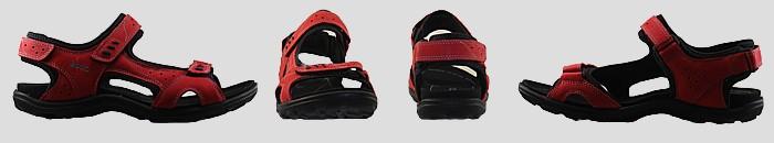 Vue ecco sandale lady semelle fine rouge
