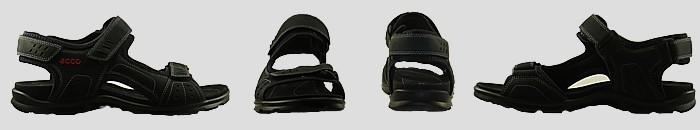 Vue ecco sandale men semelle fine noir